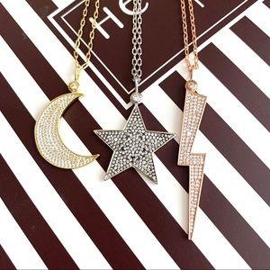 Henri Bendel Pave Necklace Pendants: Moon or Star